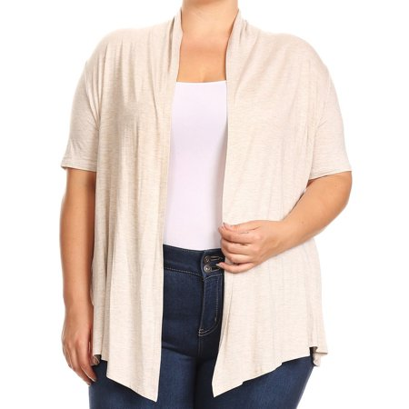 d85899956ec BNY Corner - BNY Corner Women Plus Size Short Sleeve Cardigan Open Front  Casual Cover Up Cream 1X 433 SD - Walmart.com