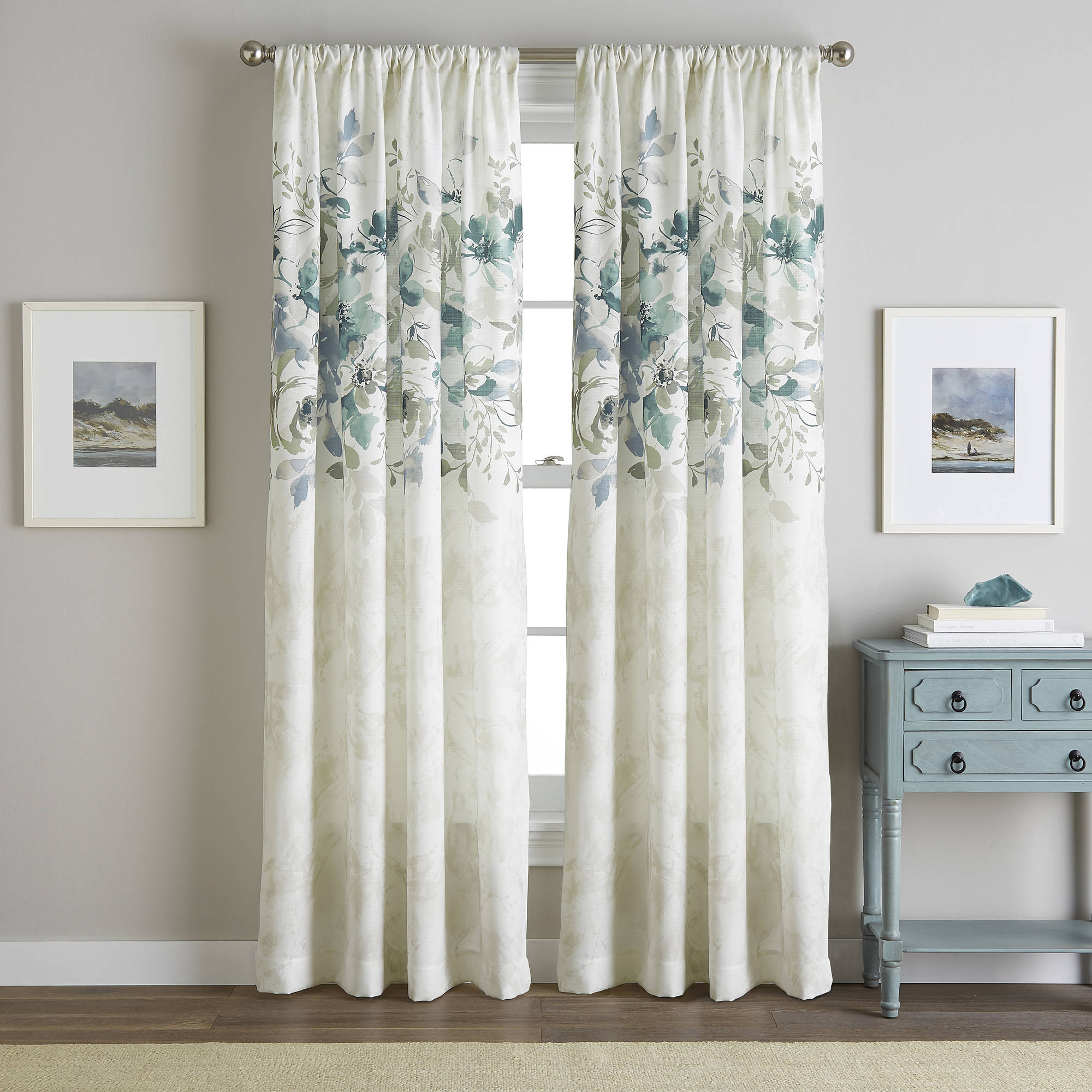 Watercolor Floral Poletop Curtain Panel  Blue Floral Curtains