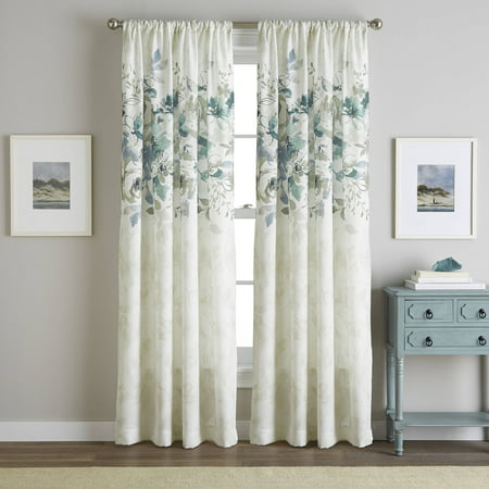 Generic Watercolor Floral Poletop Curtain Panel