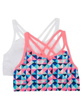 Fruit of the Loom Girls Crop Strappy Back Bra, 2 Pack (Little Girls & Big Girls)