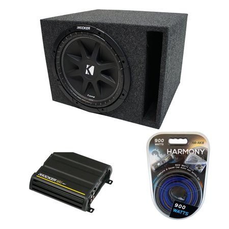 Universal Car Stereo Vented Port Single 12 Kicker Comp C12 Sub Box & CX300.1 Amp - Factory Certified (Kicker Amps Subs)