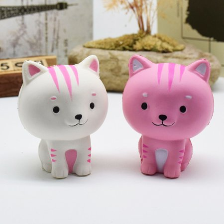 Cartoon Cat Squishy Slow Rising Phone Straps Cute Kitten Soft Squeeze Bread Charms Scented Kids Toy Style:white - image 2 de 6