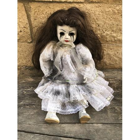 OOAK Sitting Mascara Tears Creepy Horror Doll Art by Christie - Creepy Doll Makeup