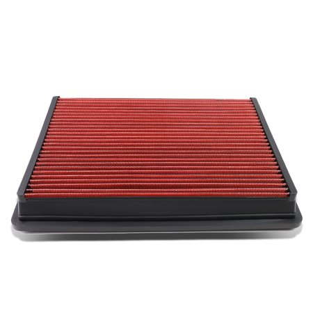 chevy / gmc / cadillac truck / suv reusable & washable replacement high flow drop-in air filter (red)