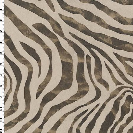 Beige/Brown/Gold Zebra Print Faux Suede Decorating Fabric, Fabric By the Yard ()