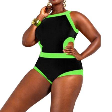 1b1e0a798d0 WLLW - WLLW Women's Plus-Size Maxi Swimsuit Super Size Swimwear - Walmart .com