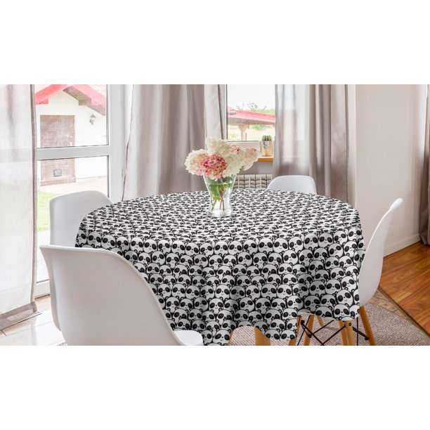Black And White Round Tablecloth Monochrome Illustration Of Pandas Indigenous Chinese Endangered Spices Circle Table Cloth Cover For Dining Room Kitchen Decor 60 By Ambesonne Walmart Com