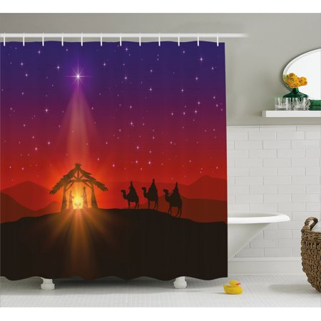 Religious Shower Curtain, Birth Scenery Composition with