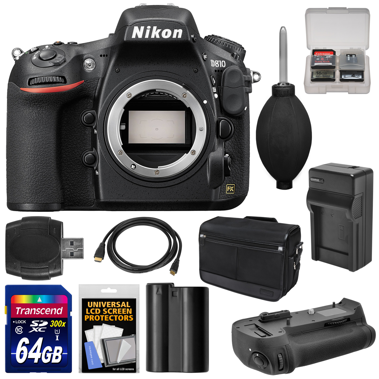 Nikon D810 Digital SLR Camera Body with 64GB Card + Battery & Charger + Shoulder Bag + Grip + Accessory Kit by Nikon