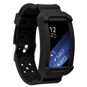For Gear Fit2&Fit2 pro bands , Frame Rugged Protective Case with Strap Bands for Samsung Gear fit 2 fit proSmartwatch(Black)