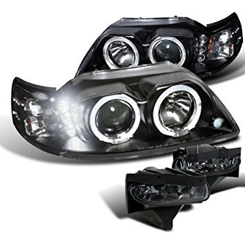 Ford Mustang Black Dual Hal LED Projector Headlights+Smoke Fog Lamps Ford Mustang Dual Led