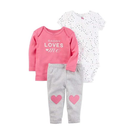 Carters Baby Girls 3-Piece Little Character Set Daddy Loves Me Pink