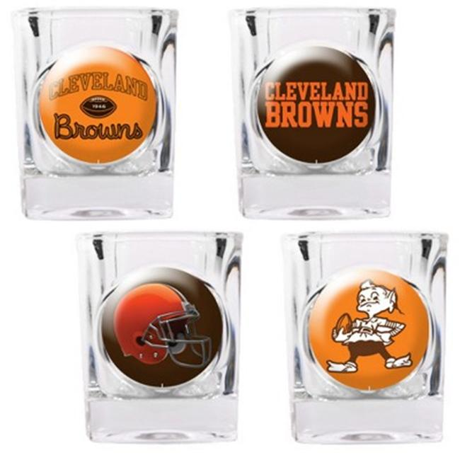 Great American Products 41144 4pc Collectors Shot Glass Set- Cleveland Browns