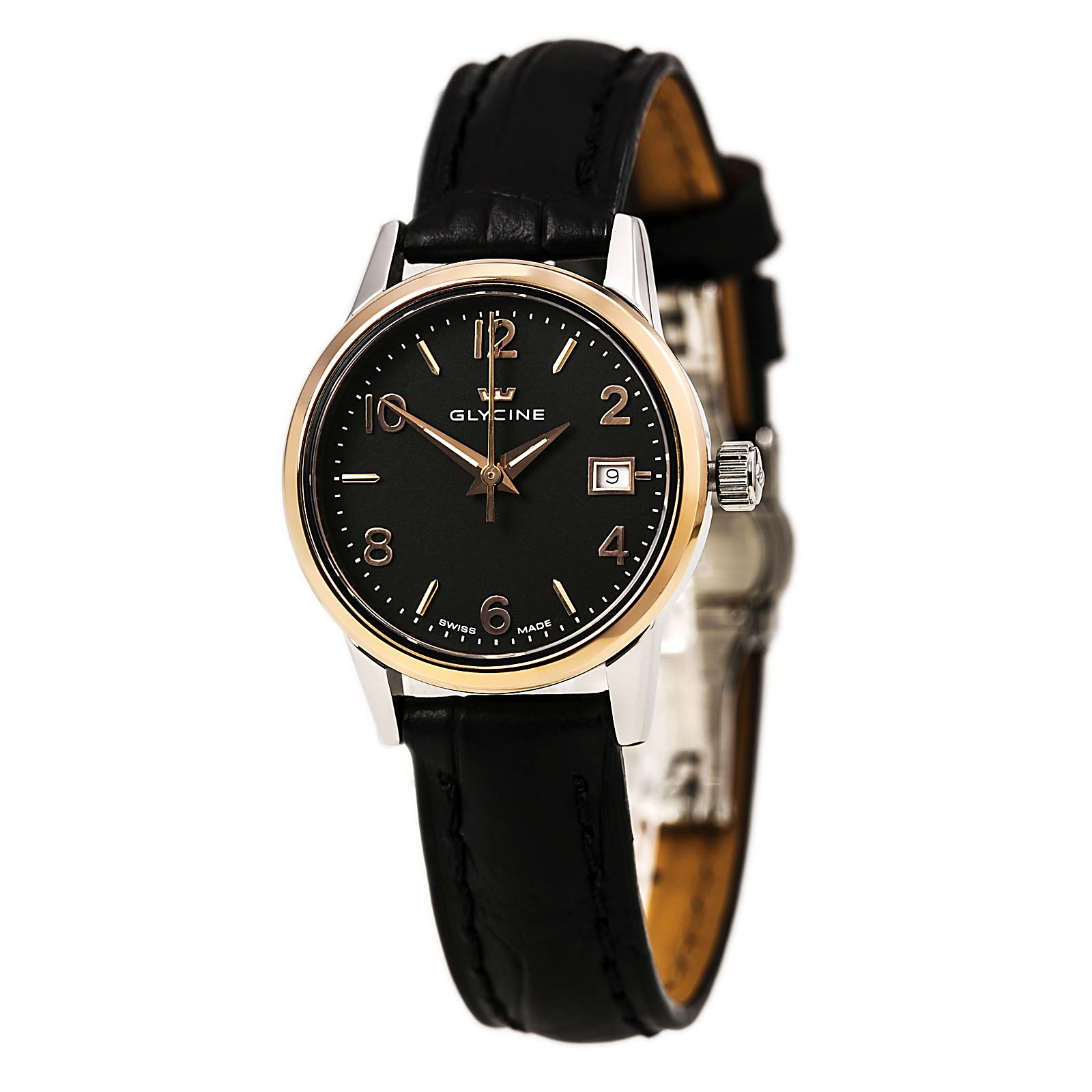 Glycine 3909-39 Women's Classic Black Dial Black Leather Strap Date Watch