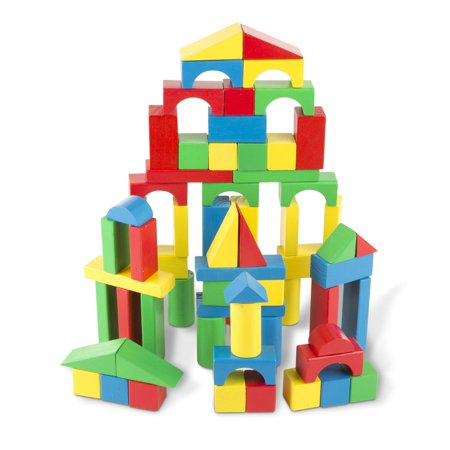 Melissa & Doug Wooden Building Blocks Set - 100 Blocks in 4 Colors and 9