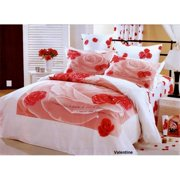 Le Vele LE04T Girls Teen Bedroom Bedding Floral Twin Duvet Covet Set, Valentine