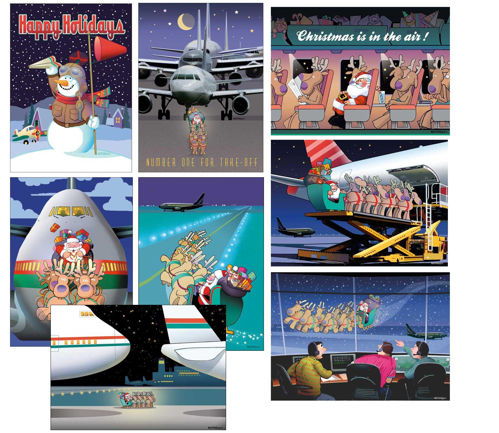 Airplane Christmas Card Variety Pack 24 Cards & Envelopes - Walmart.com
