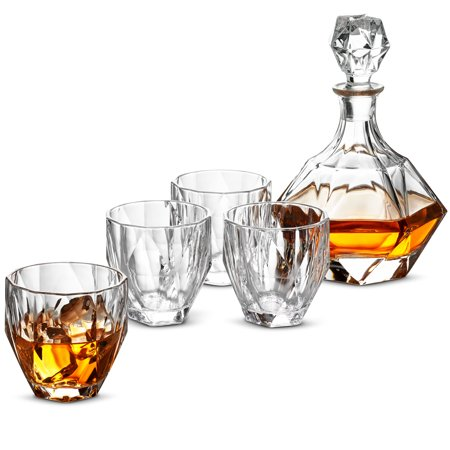 ShopoKus 5-Piece European Style Whiskey Decanter and Glass Set - With Magnetic Gift Box - Diamond Design Liquor Decanter & 4 Whiskey Glasses - Perfect Whiskey Decanter Set for Scotch Alcohol Bourbon