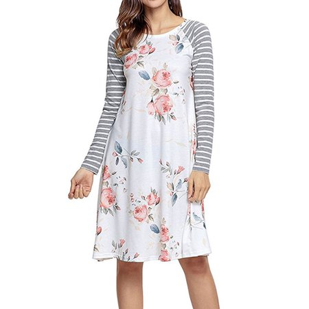 Zxzy Women Long Sleeve Striped Floral Print T Shirt Dress