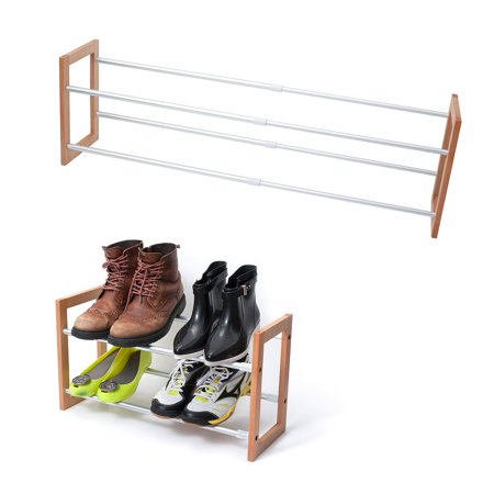 innoka 2-Tier Expandable Shoe Rack [up to 12-Pair Shoe Rack][Space-Saving] Adjustable Wooden and Aluminum Shoes Rack - Easy to Assemble, Home Essentials, Perfect for Hallway Entrance & Wardrobe Shelf Holland Wooden Shoe