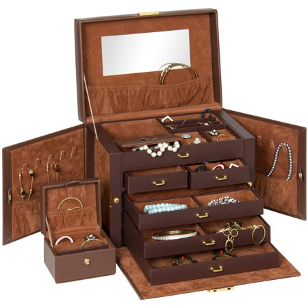 Leather Jewelry Box Organizer Storage With Mini Travel Case (Brown) - Gold Onyx Jewelry Box