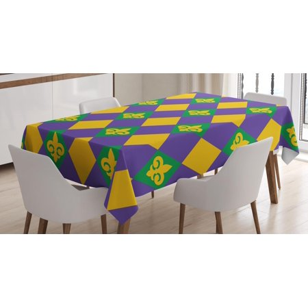 New Orleans Tablecloth, Mardi Gras Themed Rhombuses with Fleur De Lis Motifs Classic Geometry, Rectangular Table Cover for Dining Room Kitchen, 60 X 84 Inches, Green Violet Yellow, by (Fleur De Lis Motif)
