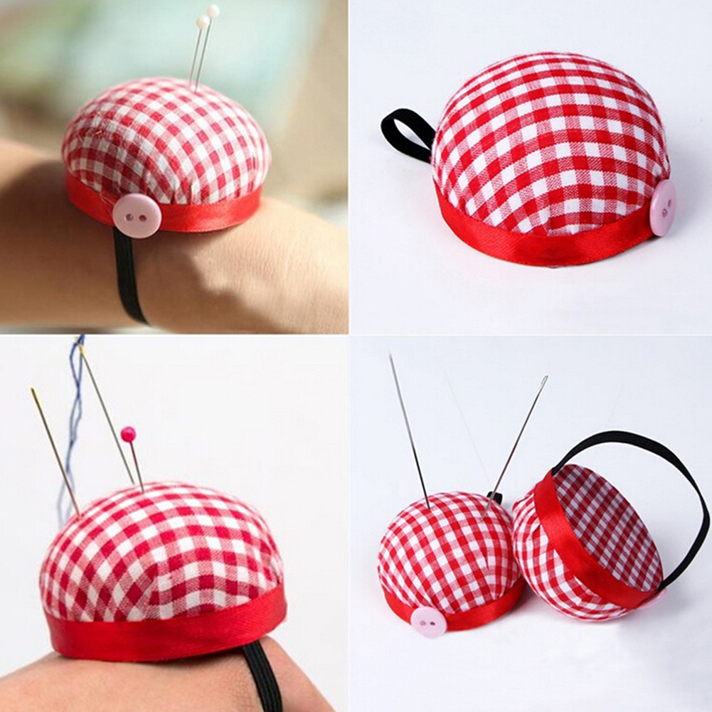 Micelec Plaid Button Storage Holder Grids Needle Sewing Pin Cushion Wrist Strap Tool