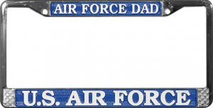 US Air Force License Plate Frame Chrome Metal by Mitchell Proffitt