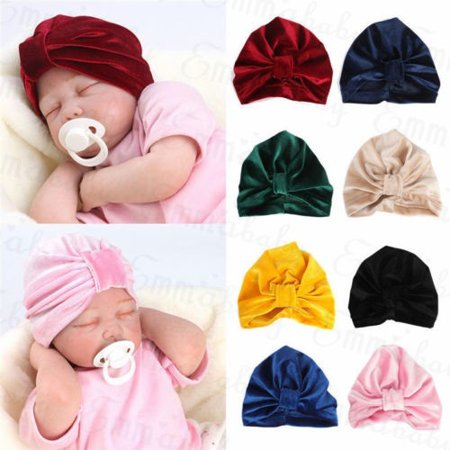 Velvet Turban - Newborn Baby Soft Velvet Winter Hat Indian Turban Cap Bohemia Style Head Wrap