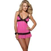 Womens Mesh Pink Fuchsia Babydoll Black Lace Trim Thong 2 Piece set