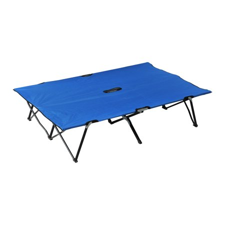 76u0022 Two Person Double Wide Folding Camping Cot - Blue