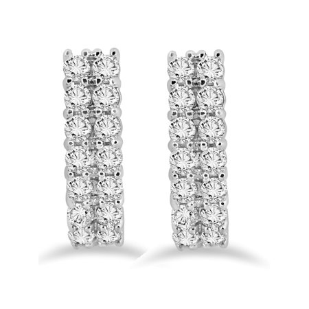 """1.40 cttw Natural Diamond Hoops White Gold 3/4"""" Tall Womens Double Row Earrings - image 1 de 2"""