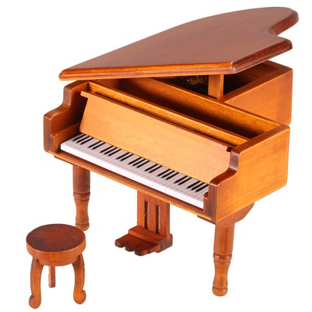 Windup Wooden Piano Musical Box Classical Melody Music Box Random Melody Gift for Children Girls ()