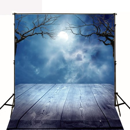 Halloween Background Sounds (GreenDecor Polyester Fabric Photography Backdrop Grey Wood Floor Dark Gray Clound Large Moon Photo Background 5x7ft Halloween Theme)
