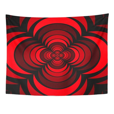 REFRED Geometric Floral Pattern Design with Rose Flower Looking 3D Like Shape Red Black Wall Art Hanging Tapestry Home Decor for Living Room Bedroom Dorm 51x60 (Red Flower That Looks Like A Poppy)