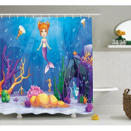Girl shower curtain set graphic of the magical underwater world with little mermaid and - The little mermaid bathroom decor ...