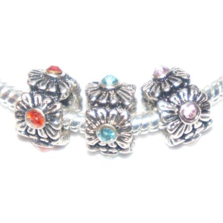 Flowers Crystal Rhinestone European Style Charm Bead. Compatible With Troll, Zable, Baigi, Chamilia, And Many More Charm Bracelets.s