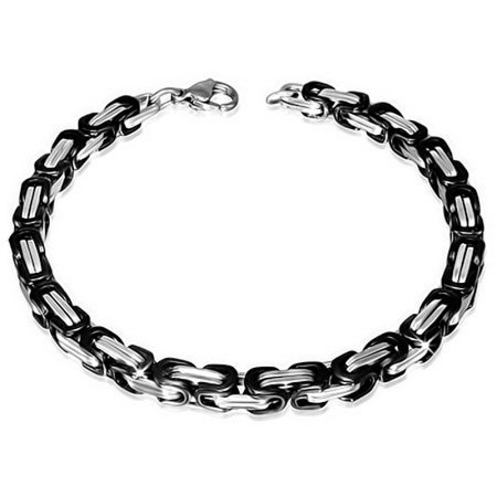 Turquoise Silver Mens Bracelets - Stainless Steel Silver Black Two-Tone Mens Link Chain Bracelet with Clasp