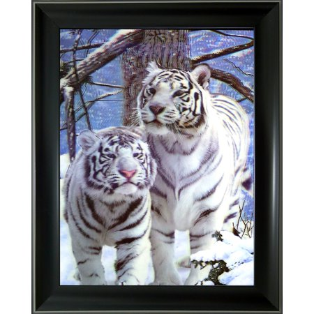 3d Lenticular Business Card (3D Lenticular Framed Animal Picture - white tigers)