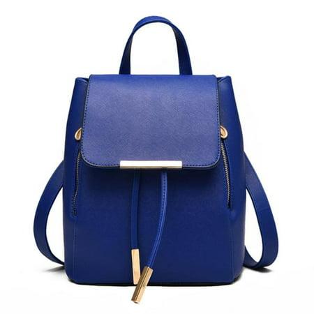 Women Leather Backpacks Schoolbags Travel Shoulder Bag Dark blue - Navy Backpacks