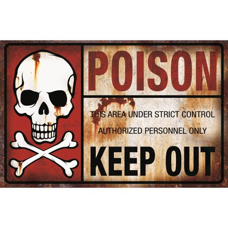 Poison Keep Out Metal Sign Halloween Decoration