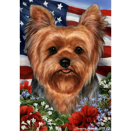 - Yorkie Puppy Cut - Best of Breed  Patriotic I Garden Flags