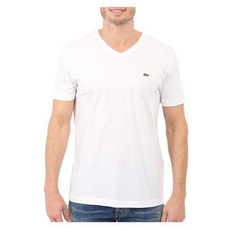 lacoste men's short sleeve v-neck pima cotton jersey t-shirt, white, 4x-large