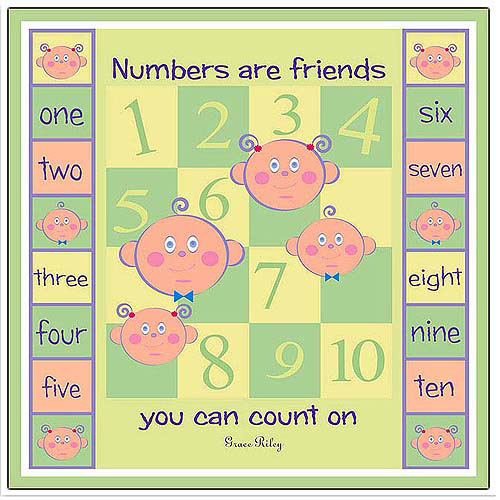 "Trademark Art ""Numbers are Friends"" Canvas Art by Grace Riley"