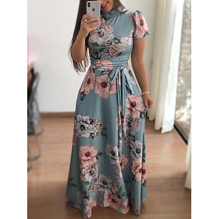 Asian size 2018 Summer Long Dress Floral Print Boho Beach Dress Tunic Maxi Dress Women Evening Party Dress Vestidos female