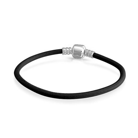 Genuine Black Leather Bracelet For Women For Starter Charm Fits European Beads Sterling Silver 6.5 7.5 8 8.5 9 Inches