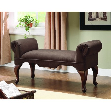 Bench with Rolled Arm, Chocolate Microfiber - Microfiber, Foam Chocolate Microfiber