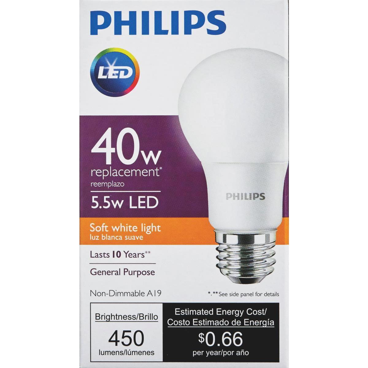 Philips LED Light Bulb, A19, Soft White, 40 WE