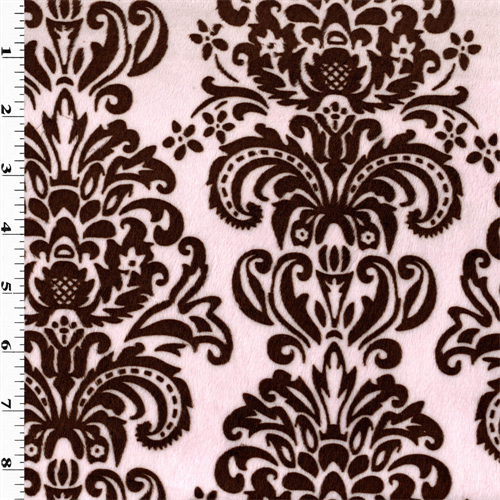 Pink/Brown Damask Print Minky, Fabric By the Yard