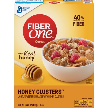 Fiber One Cereal, Honey Clusters, 14.25 -